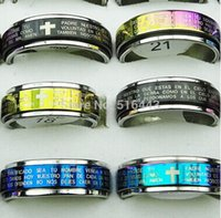 wholesale bulk jewelry - 50pcs Relious Double Layer Spin Mix Color L Stainless steel Men Womens Bulk Cross Scripture Rings Jewelry