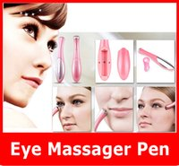Wholesale Electric Ionic Vibration Eye Wrinkle Eraser Remover Eye Dark Circle Beauty Pen Eye Massager Battery power Fast Shipping