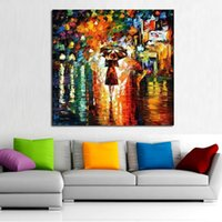 best cartoons pictures - Best Wall Art Handpainted Knife Oil Painting Beautiful Girl In The Rain Abstract Art on Canvas Modern Art Pictures Home Decora