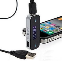 Wholesale mm Electronic In car Car FM Transmitter Wireless LCD Stereo Audio Player for iPhone S iPod Touch Galaxy S3 MP3 MP4