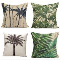 beach throw pillows - Hot Home Decortion Beach Tree Soft Cotton Pillow Case Waist Throw Pillowcase Square Pillow Cover For Office Cafe Supplies