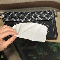 Wholesale Luxury PU Leather Car Sun Visor Tissue Box Auto Accessories Holder Paper Napkin Clip PU Leather Storage Box