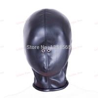 Wholesale 2015 Hot Sale Soft PU Leather Mask Hood Bondage Blindfold Sex Toys For Couple Adult Games Fantasy Sex Cosplay Slave Set