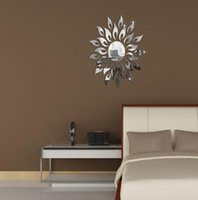wall mirror - Free shopping Sun flower Mirror effect ring wall stickers Modern design D interior decoration living room wall watches