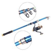 Wholesale Carbon Fiber M M Portable Telescopic Carp Fly Fishing Rod Tackle Travel Spinning Sea Fishing Pole Blue H12033