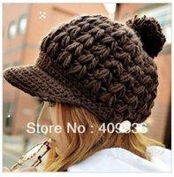 Wholesale Women s Wool Winter Hat Thick line hat Ball Cute Hat Warm Flight Hat Peaked Cap huy76