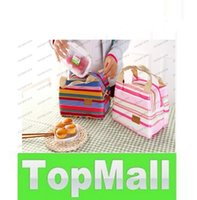 Wholesale Thermal Insulated Portable Cool Canvas Stripe Lunch Totes Bag Carry Case Picnic LLFA113