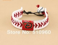 beads arizona - Mix Baseball cowhide braided leather bracelet porcelain beads Arizona Diamondbacks baseball team TS021