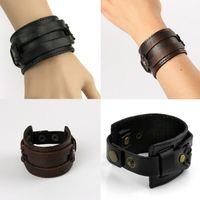 achat en gros de bracelets en cuir mâles authentiques-Casual Bracelet Accessoires de gros Hot vendre Vintage Véritable Bracelet en cuir Homme Hommes