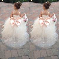 big pink belts - Lovely Flower Girl Dresses For Little Girls Tulle Spaghetti Back Big Bow With Beaded Belt Children Long Wedding Dress Custom Made EN818
