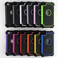 Wholesale Rugged Hybrid Silicone PC robot Ballistic case Protective Touch Case Cover for ipod touch touch football grain case