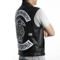 Wholesale Fall Sons of Anarchy Vest Faux Leather SOA Leather Vest Sleeveless Jacket Embroidery Pattern Halley Motorcycle Punk Black Patches