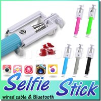 Stainless Steel steel wire - Cable Wired Selfie Stick and wireless selfie stick Monopod Mini Extendable Bluetooth Selfie Stick with built in Bluetooth Remote Shutter