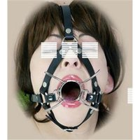 Cheap Adjustable BDSM Open Mouth Gag Leather Bondage Sex Toys Stainless Steel Mouth Gags Sex Game Adult Products for Couple Oral Sex FJ2601