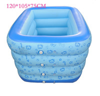 Wholesale New Secure Inflatable Kids Swimming Pool Toddler piscine Inflatable air Mattress Comfortable Bubble Button Bath Swim Play order lt no t