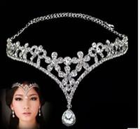 Wholesale Fashion Silver Rhinestone Head Chain Headpiece Wedding Bridal Tiaras Jewelry for Wedding Hair Bands Hair Accessories