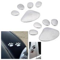 auto vinyl chrome - Universal Auto Cute Car Sticker D Dog Bear Footprints Chrome Badge Car Styling Emblem Decal Car Accessories Cute Decal