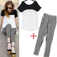 Wholesale European big brand ladies stripe splicing short sleeve chiffon unlined upper garment pants The fashion leisure two piece outfit