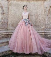 Wholesale 2016 Vintage Lace Blush Pink Wedding Dresses Empire Tulle Ball Gown Wedding Dress Long Train Capped Sleeves Floral Bridal Gowns