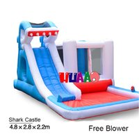 8-11 Years water slide - shark bouncer slide castle inflatable water slides with pool for sale in stock