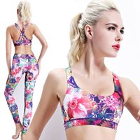 Wholesale Shockproof Running Fitness Yoga Bra Printing Flower and Speed Dry Breathable Vest Female Wireless Sports Bra for