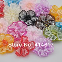 Wholesale 200pcs Upick Organza ribbon flowers bows Appliques Craft Wedding Dec A008