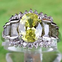 green topaz - 448AR15 Oval Cut Green Amethyst White Topaz Gemstones K Platinum Plated Ring Size