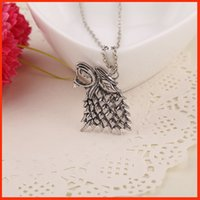 wolf jewelry - Europe Game of Thrones Winterfell Stark Wolf Necklace Antique Silver A Song of Ice and Fire necklace pendants movie jewelry