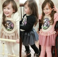 Wholesale Korean Good Quality Kids Clothes Fall Girl Dress Lace Neck Sweet Girl Priting Pure Cotton With Gauze Children Princess Dresses WD451