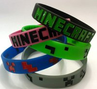 Wholesale Minecraft Wristbands Creeper My World Coolie Creeper Face JJ Strange Fear Silicone Rubber Bracelet Action Figures Xmas Gift