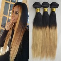 two tone hair extensions - Virgin Hair Grade Human Hair Extension Two Tone Silky Straight Peruvian Virgin Hair Weave Bundle Peruvian Ombre Straight Hair