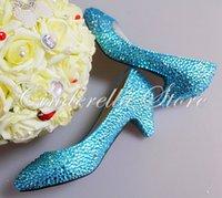 Cheap Nice Handmade Woman Blue Rhinestone Wedding Dress Shoes Woman Crystal Bridal Shoes Lady Amond Toe Party Prom Shoes