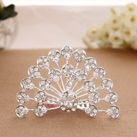 amber peacock - 2015 Real Baby Hair Clip Peacock Crystal Crown New Fashion Popular Beautiful Diamond Alloy Comb Hair Accessories Children Child