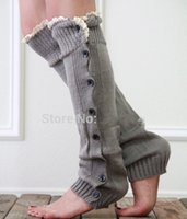 Wholesale Long solid button down Lace Knitted Leg Warmers Boot Stocking Socks Boot Covers Leggings Tight pairs mixed colors