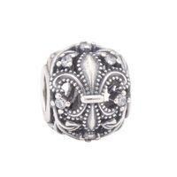 Cheap crown Silver Fleur de Lis Openwork Charm 925 Sterling silver charms loose beads for European thread bracelet DC417