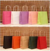 Cheap Wholesale-100pcs lot Reusable shopping bag 10 colors Kraft paper Gift bag with handle 18x15x8cm Small size  Excellent Quality Wholesale