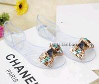 beaded jelly sandals - Fashion crystal sandals handmade beaded rhinestone bow diamond flat heel transparent jelly shoes flat female sandals