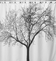 Wholesale Hot Sale Elegant Scenery Big Black Tree Design Waterproof Bathroom Fabric Shower Curtain Fabric EVA Waterproof Home Bathroom