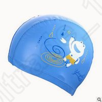 Wholesale 300pcs CCA3553 High Quality Baby Swimming Cap Cartoon Digital Printed Swim Caps Flexibility Durable Hat Kids Candy Color Animal Printed Caps