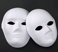 paper face mask - DIY woman man white face Masks Hand Painted suit for Halloween Masquerade Party cosplay masks blank face masks