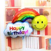 aluminum fines - cm Fine aluminum foil aluminum balloons birthday party arranged sided large rainbow smiley balloon