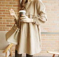 korean maternity dress - Large size women dress Maternity dress summer cotton linen khaki Korean dress big size