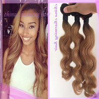 Cheap Dark root 1b 27 honey blonde ombre two tone virgin peruvian human hair weaves bundles body wave top quality 7A 8-30inches fast free shipping
