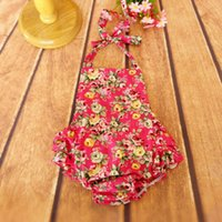 Wholesale 2016 Floral bubble romper baby bubble romper Girls bubble romper Baby Girls Summer rose cotton playsuit