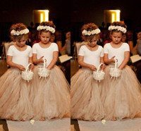 Wholesale 2016 New Pretty Princess Flower Girls Dress A Line Crew Short Sleeve Floor Length Champagne Puffy Skirt Tulle Cheap Flower Girl Gowns