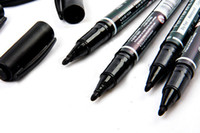 Wholesale 5PCS Fine Dual Heads Marking Pen Marker Waterproofink Thin Nib Black New Portable order lt no track