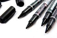 Wholesale 5PCS Fine Dual Heads Marking Pen Marker Waterproofink Thin Nib Black New Portable order lt no track