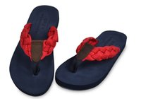 Wholesale Men s slippers woven rubber flip flops male money men dragging men leisure beach slippers