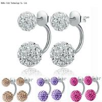 Wholesale Earings Fashion jewelry For Women Double Side Earring Color Earrings Shamballa Crystal Ball Double Stud Earing Jewelry Cheap Jewelry
