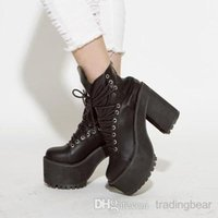 Wholesale Cool black leather motorcycle boots thick heel shoes anti skid sole high platform shoes women boots CM size to